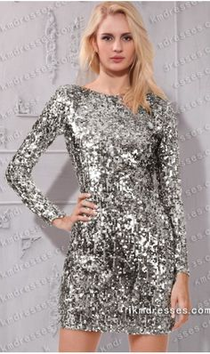sparkling Crew neckline Long sleeves cocktail party dress Silver Dresses -Prom Dresses-Prom Dresses 2016