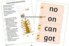 FREE Phase 2 Words Autumn Game Early Years (EYFS) Printable Resource — Little Owls Resources - FREE Nursery Practitioner, Early Years Teacher, Fall Games, High Frequency Words, Emotional Development, Phase 2, Letter Sounds, Eyfs, Nursery Rhymes