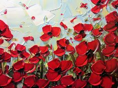 Summer Red Poppies Metal Print by Christine Bell. All metal prints are professionally printed, packaged, and shipped within 3 - 4 business days and delivered ready-to-hang on your wall. Poppy Field Painting, Poppies Painting, Flower Prints, Flower Art, Pictures Of Poppy Flowers, Memorial Day Poppies, Palette Knife Painting, Remembrance Day, Sketchbook Inspiration