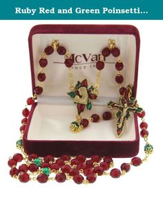 Ruby Red and Green Poinsettia Christmas Rosary - Gold Tone. Ruby Red and Green Poinsettia Christmas Rosary + Gold Tone. Tis the Season to have this elegant Poinsettia Christmas Rosary! This gorgeous rosary would make a wonderful gift for your someone special. It features 7mm round, red, tin cut glass decade beads and capped green Our Father beads. The centerpiece is a beautiful antique gold poinsettia in red and green epoxy accenting Madonna and Child. The crucifix also features a…