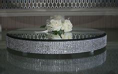 LARGE ROUND DIAMANTE MIRROR PLATE - CAKE STAND - WEDDING TABLE CENTREPEICE  40cm