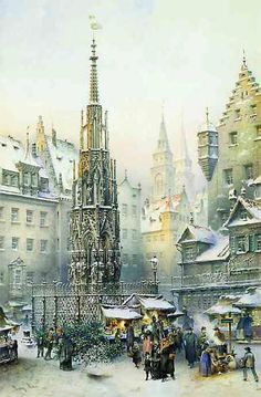 From Brück and Sohn (Printers in Meissen, Germany since 1793) a charming Advent Calendar of Nuremberg / Nürnberg, Germany, depicting the famous Christkindlesmarkt / Christmas Market. This delightful a