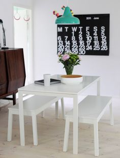 Ikea 'Melltorp' dining table & 'Sigurd' benches