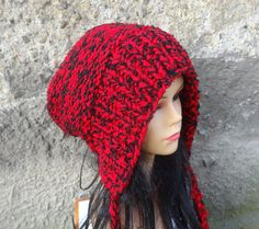 knit Hood Hat Chunky Hat  Big  Baggy beanie  Hat Winter by Ifonka