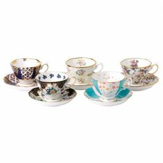 100 Years of Royal Albert 1900-1940 Teacup & Saucer Set of 5