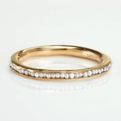 Pearl wedding band to go with the pearl and diamond engagement I will have, yes please! Jewelry Box, Jewelry Rings, Jewelry Accessories, Jewelry Design, Gold Jewelry, Jewlery, Jewelry Center, Pearl Jewelry, Bridal Accessories