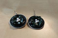Boucles d'oreilles capsules Nespresso vert bouteille : Boucles d'oreille par masha-boutique