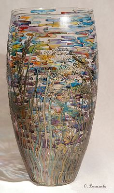 Hand Painted Glass Vases - What Desem you taste?Okay, this had dandelions, wonderful grasses, leaves, colorful clouds! One of my all-time favorite pieces. Bottle Painting, Bottle Art, Bottle Crafts, Glass Painting Designs, Pottery Painting Designs, Painted Glass Vases, Painted Wine Glasses, Stained Glass Patterns, Stained Glass Art