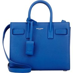 Saint Laurent Nano Sac De Jour ($1,990) ❤ liked on Polyvore featuring bags, handbags, blue, flat purse, snap bags, yves saint laurent purses, hardware bag and flat bags