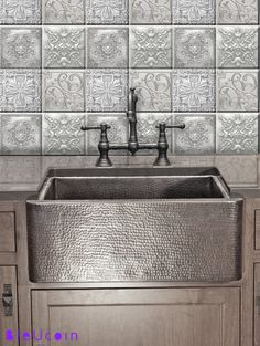 Tin tile decals:  These decals are inspired by tin tiles & give a realistic look of them. Please note the material is not tin as they are vinyl tile