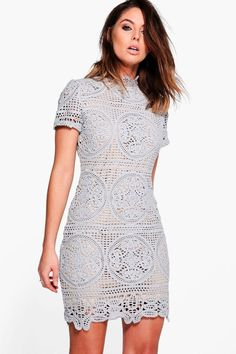 ca3ce29d87 50.00 | Boohoo Womens Boutique Crochet Lace Bodycon Dress ❤ #boohoo #womens  #