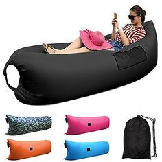 Inflatable Lounger Air Filled Balloon Beds Furniture Sleeping Sofa Couch Black