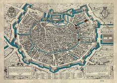 Questa mappa a volo d'uccello del 1573 è la sola che mostra i tre fossati difensivi: quello interno di epoca romana (le celebri cantarane) quello medievale della Fossa interna e infine quello delle mura spagnole. #acqua come elemento fondamentale anche pe
