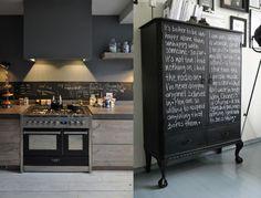 Schoolbordverf De Keuken : Krijtbord keuken brocante keuken krijtbord groente pannen with