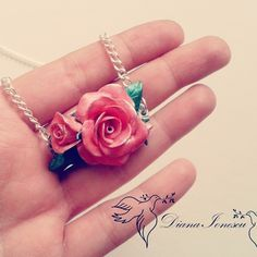 Polymer Clay pink roses necklace