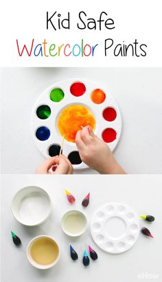 Bring out both sides of their creative personalities and help them paint a colorful masterpiece using homemade watercolors. Your little ones are going to love making their own paints just as much as they'll enjoy using the paints themselves! Non-toxic, ea Baby Painting, Painting For Kids, Watercolour Painting, Food Coloring Crafts, Diy For Kids, Crafts For Kids, Homemade Watercolors, Homemade Paint, How To Make Paint