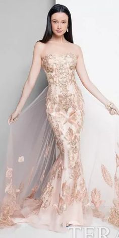 Sheer Overlay Semi Sweetheart Embroidered Evening Dress by Terani Couture