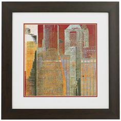 Add a bit of the city to your decor with this vibrant wall art print. Matted and under glass. Style # at Lamps Plus. City Chic, Wall Art Prints, Vibrant, Urban, Frame, Glass, Painting, Decor, Picture Frame