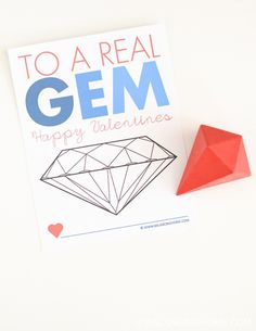 Non-candy Printable Valentine Activity. Keep kids busy coloring in the gem!