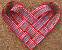 Heart made of inkle-woven bands - at Inkled Pink