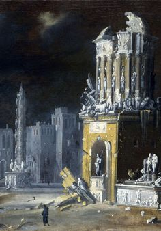 Fantastic Ruins with St Augustine and the Child - oil on canvas (detail) 1623 | Francois de Nome