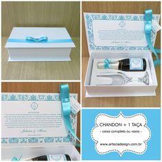 Lembrança de padrinhos maravilhosa da Arte e Cia Design - Caixa personalizada com Chandom + 1 taça, da Arte e Cia Design <3 Orçamento grátis ➼ http://www.casareumbarato.com.br/guia/arte-cia-design/