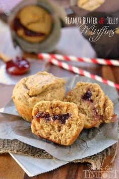 Fabulously moist Peanut Butter and Jelly Muffins make for a delicious and satisfying breakfast on-the-go or a great after-school snack! | MomOnTimeout.com | #recipe #breakfast #snack #peanutbutter