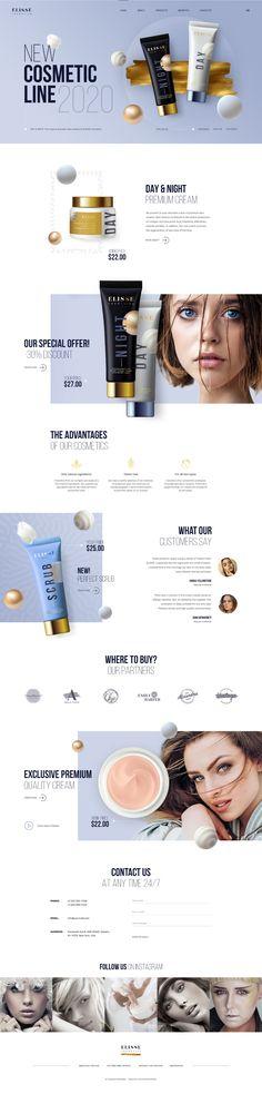 Cosmetic Landing for WordPress Theme. on Behance Minimal Web Design, Modern Web Design, Graphic Design Tips, Cosmetic Web, Cosmetic Design, Website Design Layout, Web Layout, Template Site Web, Beauty Web