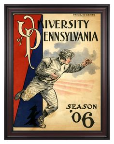 1906 Penn Quakers Season Cover 36x48 Framed Canvas Historic Football Poster
