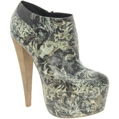 ALDO Rise x Preen Gillote Print Platform Heeled Shoeboots (3.465 RUB) ❤ liked on Polyvore featuring shoes, boots, ankle booties, heels, multi, zapatos, stacked heel booties, aldo boots, platform heel boots and leather booties