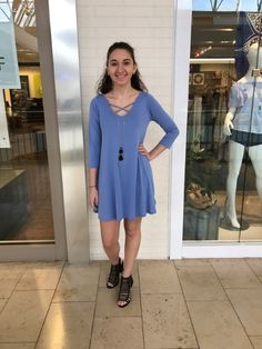 Need a #comfy look for your Thursday? Well here's one you'll love! This periwinkle #dress is so soft and comfy. Grab it before its gone! #apricotlaneaugusta #shopALB #augustamall  #modalfabric #soft