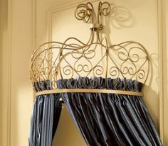 Bed Crowns And Coronas | Golden Scroll Bed Crown with Tiebacks