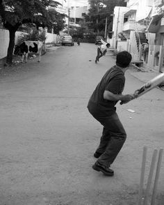 Gully / Building / Street Cricket: Requirements were to have no real pitch, boundaries drawn with imaginary lines and stumps drawn on walls with chalk. Oh, and under-arm bowling!