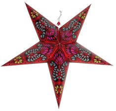 Star Paper Lantern 24  Red Bollywood Pattern
