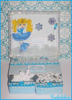 Christmas Matchbox Easel Card created with the Winter Skates Party digi image by Sherri Baldy