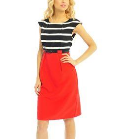 Red & Black Stripe Belted A-Line Dress #zulily #zulilyfinds