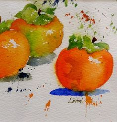 persimmons, fruit, orange, watercolor, painting, fine art, Lisa Livoni, Napa Valley artist, colorist