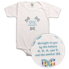 """""""Brought to you by the letters G, C, A, T and the number 23"""" (gene sequencing) onesie."""