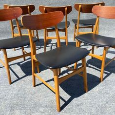 Image of Vintage Danish Modern Teak Chairs - Set of 6