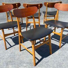 Image of Vintage Danish Modern Teak Chairs - Set of 6