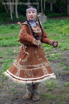 Koryak folk dancer.Petropavlovsk-Kamchatsky, Kamchatka, Siberia, Russia, Eastern Europe, Europe.