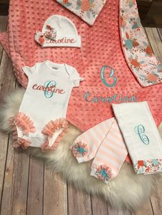 A personal favorite from my Etsy shop https://www.etsy.com/listing/519222914/baby-girl-coming-home-outfit-coral