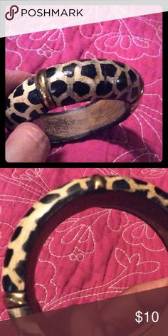 Animal print wooden bangle brass accents Animal print - wooden bangle bracelet with brass accents Jewelry Bracelets