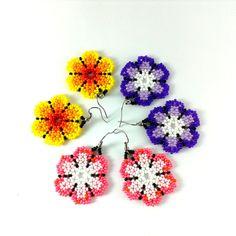 Flower seed bead earrings set Huichol round beaded by Galiga