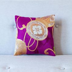 Purple silk pillow with gold drum embroidery. Pink Cushions, Throw Cushions, Learn Embroidery, Paper Embroidery, Embroidery Ideas, Refinery 29, Silver Pillows, Bridesmaid Clutches, Japanese Textiles
