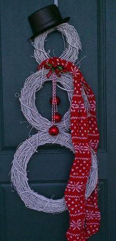 Christmas wreath snowman