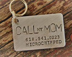 Handstamped Pet ID Tags, Personalized Keepsakes & Gifts by TheLandlockedDogTwo Dog Id Tags, Pet Tags, Gravure Metal, Personalized Dog Tags, 1. Tag, Call My Mom, First Christmas Ornament, Stamped Jewelry, Jewelry Stamping