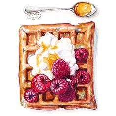 Dessert Illustration, Watercolour Illustration, Food Art Painting, Copic Marker Art, Food Sketch, Watercolor Food, Food Stickers, Color Pencil Art, Food Drawing