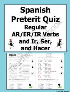 Spanish Preterit Verb Conjugation Quiz or Worksheet from Sue Summers on TeachersNotebook.com -  (2 pages)  - Can also use to present verb conjugations.
