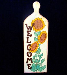 Handpainted Breadboard Sunflowers Welcome Vintage Paddle Wall Decor Wood Yellow #Unbranded #PrimitiveCountry